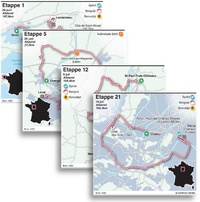 WIELRENNEN: Tour de France 2021 etappekaarten infographic