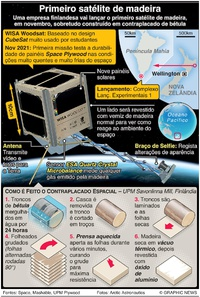 ESPAÇO: Primeiro satélite de madeira infographic