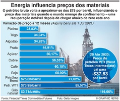 NEGÓCIOS: Preços das matérias primas infographic