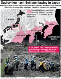 KATASTROPHE: Japan Erdrutsch infographic