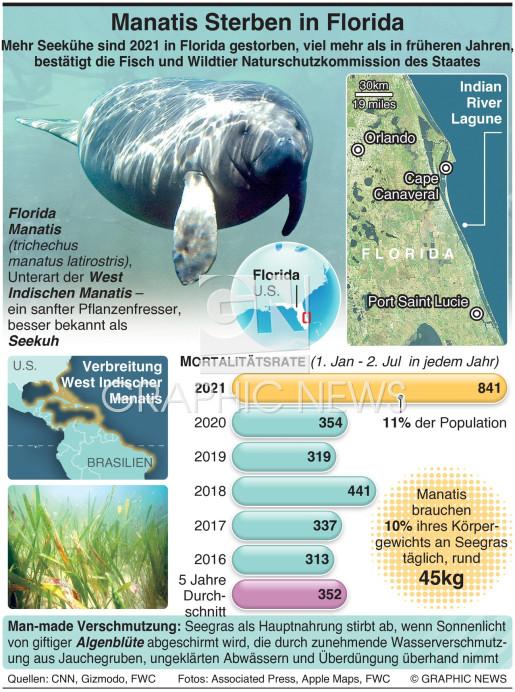 In Florida steigt Manatis Todesrate infographic