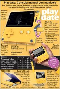 JUEGOS: Playdate: Consola de juegos portátil con manivela infographic
