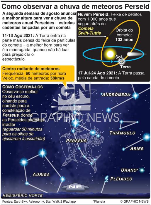 Como observar a chuva de meteoros Perseides infographic