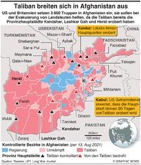 AFGHANISTAN: Taliban breiten sich in Afghanistan aus Provinzhauptstädte infographic
