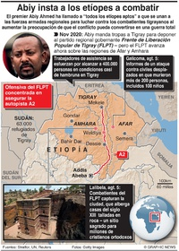 CONFLICTOS: Premier de etiopía insta a los civiles a unirse al ejército  infographic