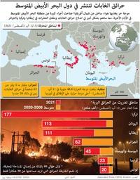 كوارث: حرائق الغابات تنتشر في دول البحر الأبيض المتوسط infographic