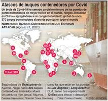 NEGOCIOS: Atasco de portacontenedores por Covid infographic