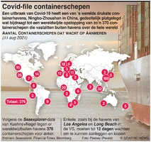BUSINESS: Opstopping containerscheepvaart door Covid infographic