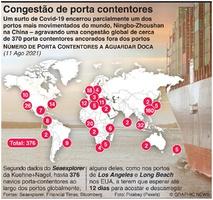 NEGÓCIOS: Congestão de navios porta contentores infographic
