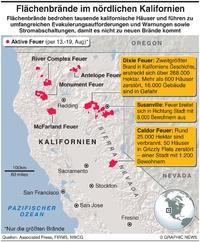 KATASTROPHEN: Flächenbrände in ganz Nord-Kalifornien infographic