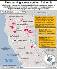 DISASTERS: Wildfires raging across northern California infographic