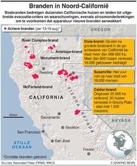 RAMPEN: Bosbranden razen door noordelijk Californië infographic