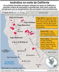 DESASTRES: Incêndios florestais no norte da Califórnia infographic