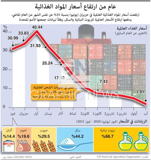 عام من ارتفاع أسعار المواد الغذائية infographic