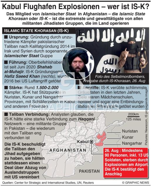 IS bestätigt Explosionen am Flughafen Kabul infographic