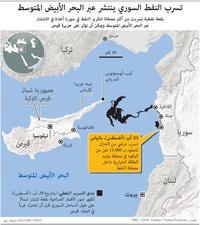 الشرق الأوسط:  تسرب النفط السوري ينتشر عبر البحر الأبيض المتوسط infographic