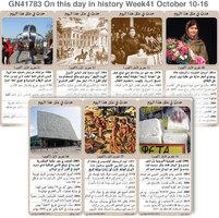تاريخ: حدث في مثل هذا اليوم - 10 - 16  تشرين الأول - الأسبوع 41 infographic