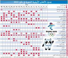 بكين 2022: جدول الألعاب الأولمبية الشتوية في بكين 2022 infographic