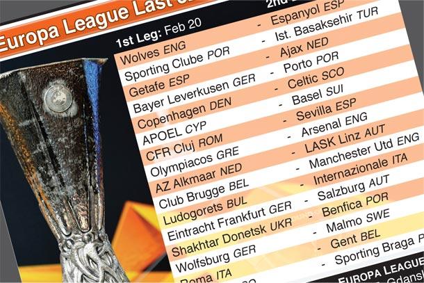 Feb 20, 27: Europa League Last 32 knockout round