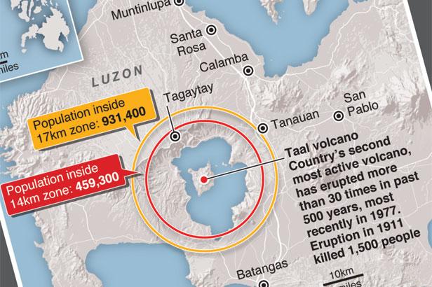 Volcano shuts down Philippine capital