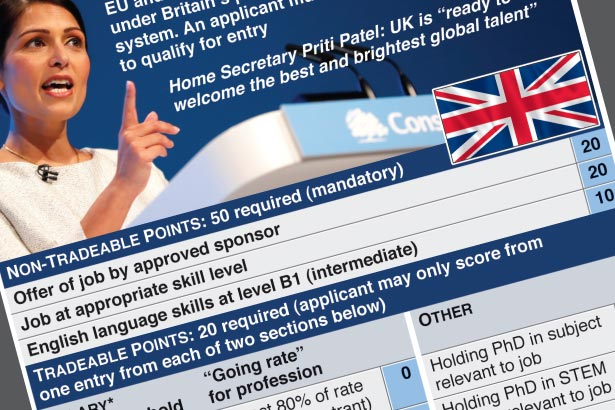 Migrants need 70 points to be eligible to work in UK