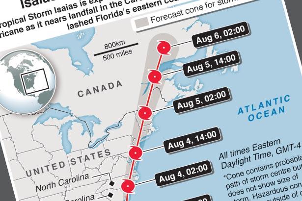 Isaias near hurricane strength as it crawls toward Carolinas