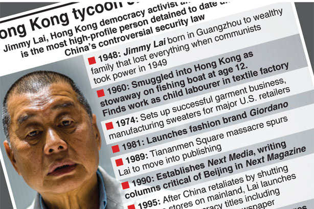 Hong Kong tycoon Jimmy Lai arrested