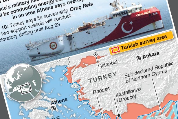 Greece on alert as Turkey sends survey ship to disputed waters