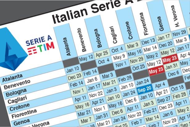Sep 20: Italian Serie A fixtures 2020-21