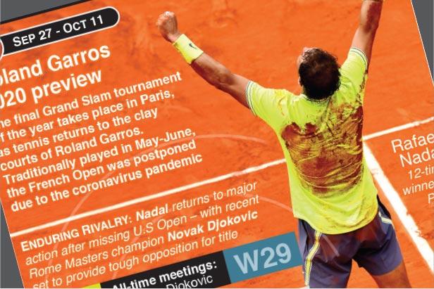 Sep 27: Nadal returns to Grand Slam tennis at Roland Garros