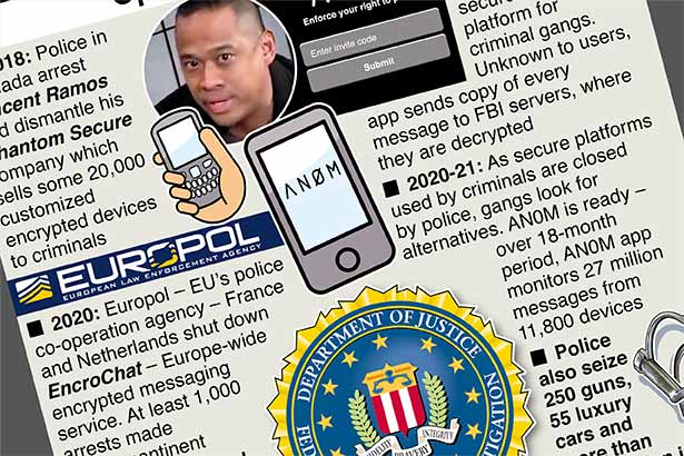 Global sting began with message service for crooks