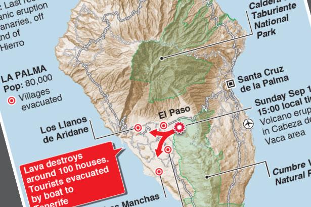 Thousands flee Spanish volcano