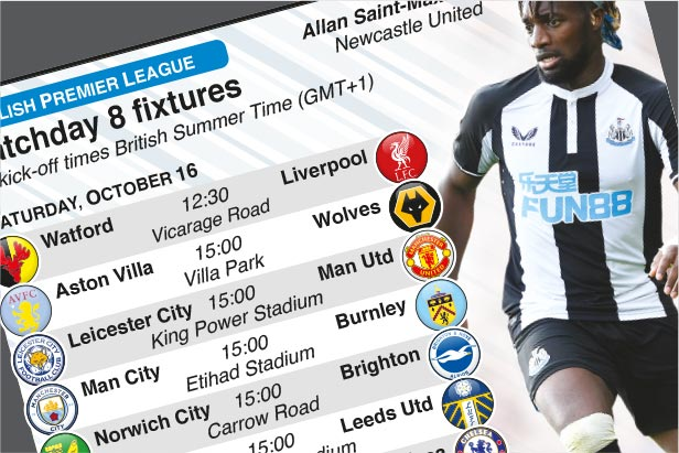 Oct 16-18: English Premier League Matchday 8